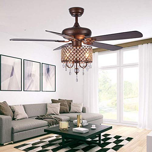 Crystal Chandelier Ceiling Fan With Light And Remote 5 Wood...
