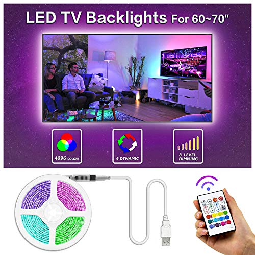 BASON USB LED TV Bias Lighting for 60 to 70 Inches HDTV LED Strip for Back of Tv Lighting Home Movie Theater Decor