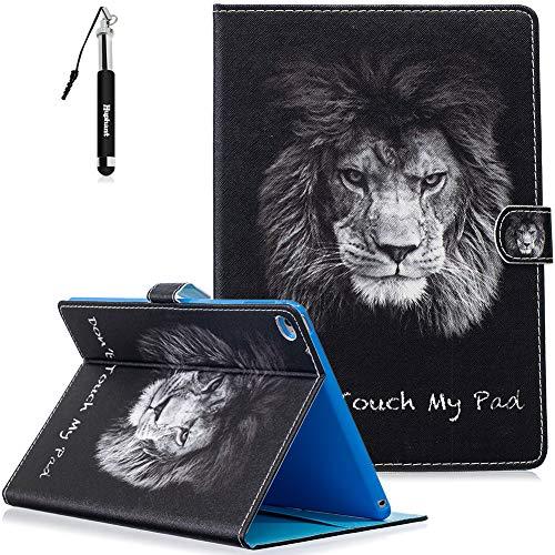 Huphant Compatible for iPad Air 2 Hülle, iPad Air 2 Handy Hülle Schwarz Flip Schutzhülle Lederhülle mit Silikon Wallet Case für iPad Air 2 Kartenfächer Magnet (Mit Auto Schlaf/Wach) -Löwe