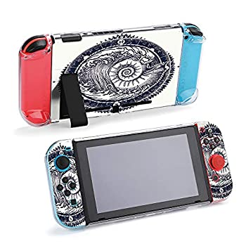 SUPNON Big Wave and Sea Shell Tattoo Protective Case Compatible with Nintendo Switch - Soft Slim Grip Cover Shell for Console and Joy-Con with Screen Protector Thumb Grips Anti-Scratch Design13673