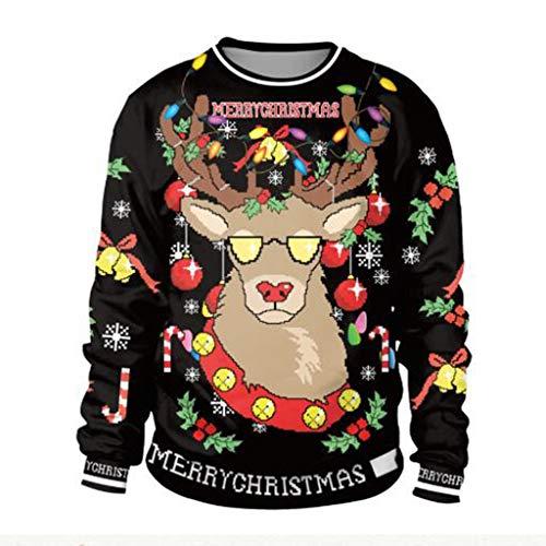 ABCDE Suéter de la Navidad Traje de Feliz Navidad, Jersey de Cuello Redondo con Estampado de Renos en 3D, Mangas largas Atmósfera, Mantener Caliente