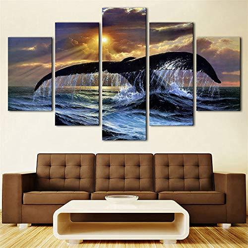 WSNDGWS Hd Walvisstaart, Lovebird, Animal Seascape Decoratie Schilderijen, Multi-decoratieve schilderijen, Kunstenaar, Decoratief Doek, Geen fotolijst 30x40cmx2 30x60cmx2 30x80cmx1 D2