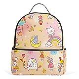ALAZA Bunte Kaninchen und Vogel-Rucksack für Schule Bookbag