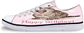 Birthday Decorations Soft Low Top Canvas ShoesColorful Pretty Triangular Party Flags on Ropes Swirls and Stars Kids for Women,US 5