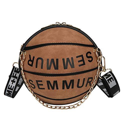 Bolsa de Basquete Feminina Oweisong Bola Forma Bola Ombro Mensageiro Bolsa Mini Redonda Bolsa de Alça Ajustável Bolsa Bolsa, Marrom, One Size