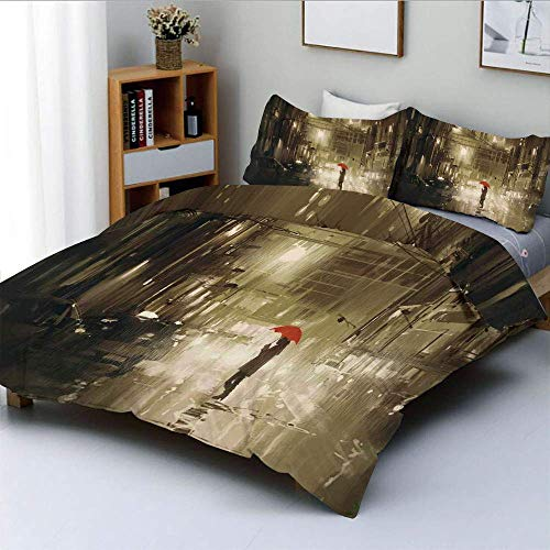 Jojun Duvet Cover Set,Woman with Red Umbrella in Street at Rainy Night in Town Shadow Urban SceneryDecorative 3 Piece Bedding Set with 2 Pillow Sham,Sepia,Best Gift for Kids & Adult Easy Car