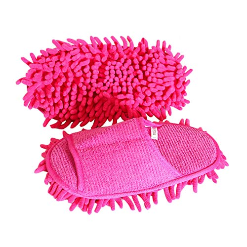 KCCCC Zapatillas de trapeador 1 par de Zapatillas de trapeador Limpieza Perezosa Piso de Limpieza de Polvo Caliente para Dormitorio Zapatillas de Limpieza de Piso (Color : Pink, Size : Medium)