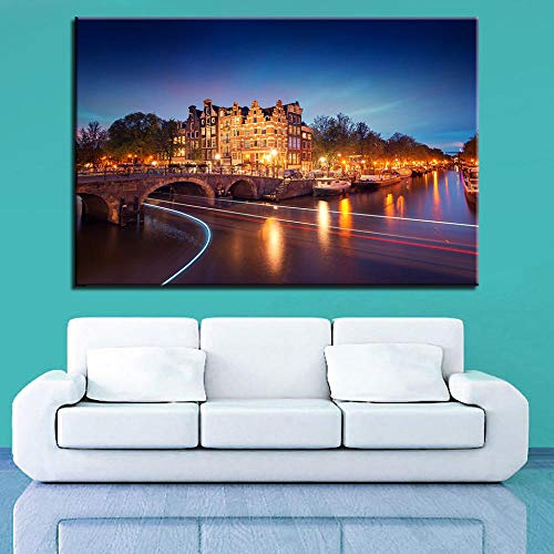 Canvas Print Lakeshore Night Scene On Canvas Newly Painted Wall Art On Framed Canvas Wall Art Home Decoration 20X30Cm