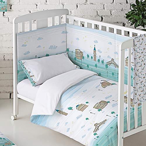 Eiffel Textile Italia Baby Protector Cuna Acolchado Chichonera bebe 100% Algodón Calidad Diseño Infantil, Tamaños 60 x 120 cm, 70 x 140 cm, 40 x 180 cm Estampado, Verde
