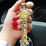 BDYALINGVN Damen Automatische mechanische Uhr wasserdichte Edelstahlband Damenuhr (Color : Goldface)