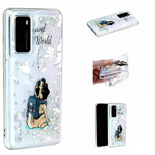 Miagon Flüssig Hülle für Huawei P40 Pro,Glitzer Weich Treibsand Handyhülle Glitter Quicksand Silikon TPU Bumper Schutzhülle Case Cover-Hund