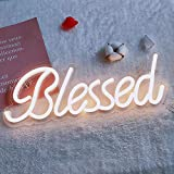 DIVATLA Blessed Neon Sign, 5v USB Powered. Nice Looking Neon Night Sign with Dimmable Switch. Warm White Neon Signs for Wall Decor