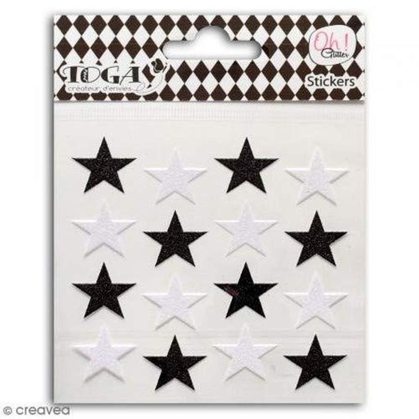 Toga 16 Black & White Glitter Stickers