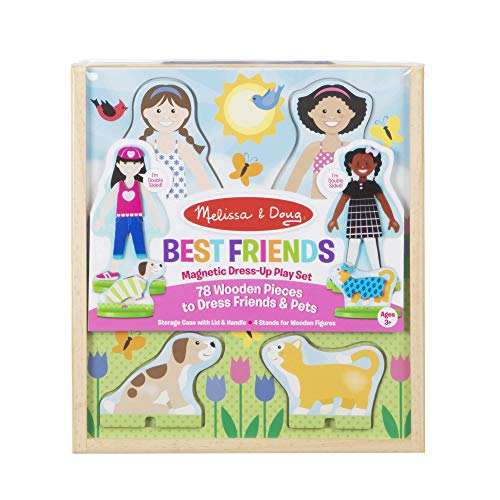 Melissa & Doug Best Friends Magnetic Dress-Up Wooden Dolls Pretend Play Set (78 pcs)