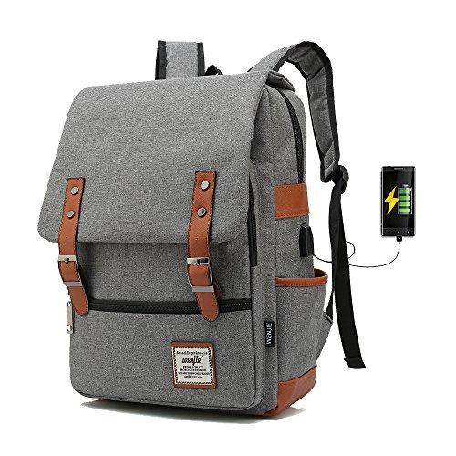 J013 Mochila Portátil Casual del Trabajo Diario Camping Viaje, Mochila para Portátil Multiusos Daypacks con Puerto de Carga USB (Gray)