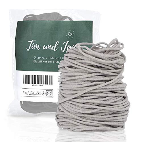 Tim und Jane® Gummiband rund 3mm, 25m Länge, Elastikkordel zum Nähen, Gummiband für Mundschutz (grau)