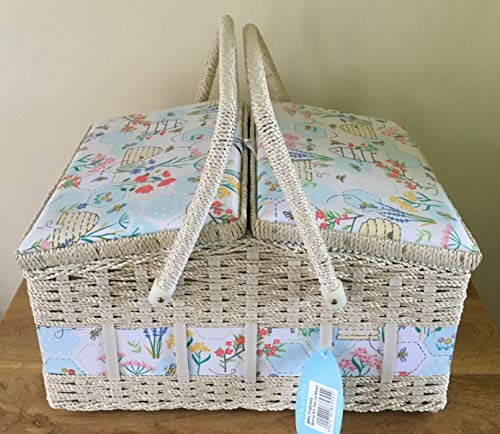 Hobby Gift Double Lid Sewing Box Sewing Bee Design - Box Size: (D/W/H): 26 x 35 x 20cm