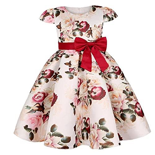 Girls Princess Dress Vintage Flowers Pageant Dress Elegant Party Dress for 6-7T Claret