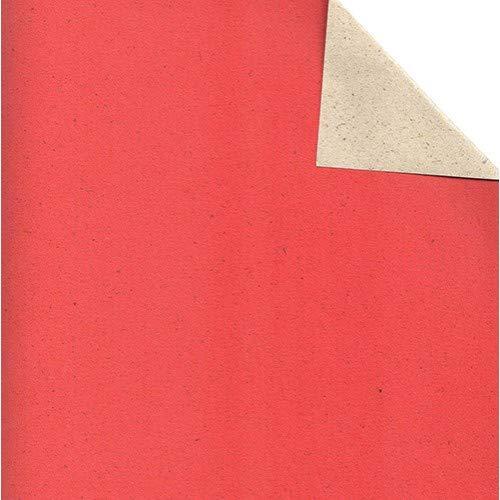 Wörner Geschenkpapier - Graspapier; 50 cm x ca. 200 m; uni, einseitig farbig; rot, Rückseite: naturb
