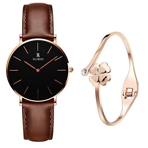 XLORDX Classic Damen-Armbanduhr Analog Quarz Braun Leder Armband, Schwarz Zifferblatt mit Elegant...