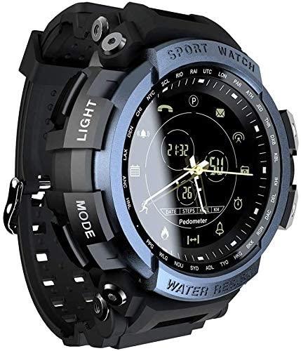 XYG Reloj inteligente para hombre, reloj táctico militar impermeable inteligente con recordatorio de información y función de podómetro de calorías compatible con fotografía remota (A)