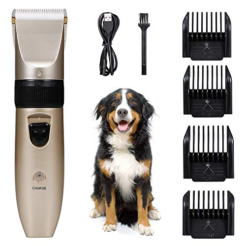 negaor Pets Dog Cat Electric Clipper Dog Grooming Kit Dog Trimmer for Small Dogs Cats USB Rechargeable Low Noise Powerful Motor Pet Hair Clipper