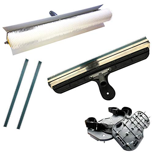 Entlüftungsroller Set: 50 cm Entlüftungswalze + Nylon-Nagelsohlen [35 mm] (fertig montiert) + Stehrakel Großflächenrakel 560 mm - Betonentlüfterrolle mit Spritzschutz Stachellänge: 11 mm