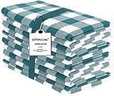 Clinique du coton Lot de 12 Serviettes de Table Coton - Vichy Serviettes de Table tissu, Serviettes de Table Mariage, Lavable en machine - 50 x 50 cm Vert Blanc