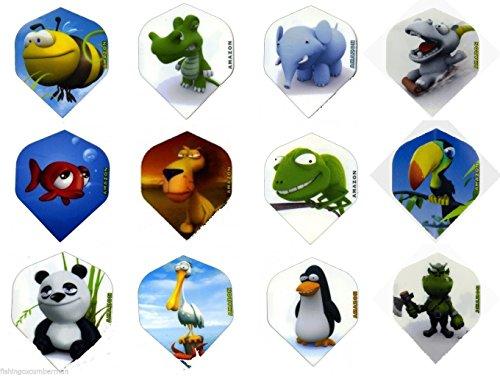 Amazon Extra Stabile Dart Flights mit Cartoon-Tiermotiven, wählen Sie aus 12Designs, chameleon