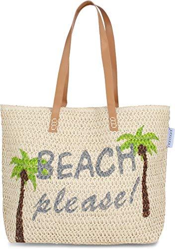 normani Große Strandtasche Schultertasche Einkaufstasche Shopper Badetasche Beachbag für Damen Weekend Bag Farbe Beach Please