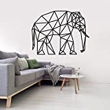 Tianpengyuanshuai Patrón geométrico Elefante Pared Arte Pegatina Tema Animal decoración del hogar línea sólida Vinilo Pared art50X38cm