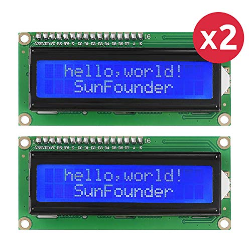 SUNFOUNDER LCD1602 Module With 3.3V Backlight For Arduino R3 Mega2560 Raspberry Pi 16X2 Character White On Blue Background