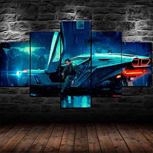 IILSZMT Hd Lienzo Decorativo 5 Panel Artística Lienzo Decorativo Cuadros Blade Runner 2049 Películas Modulares Salón Decoración Para Hogar