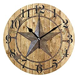 Nugier Texas Star Round Wall Clock Silent Non Ticking Custom Acrylic Painted Easy to Read Non-Ticking Home Art Bedroom Living Dorm Room Decor 9.45x9.45