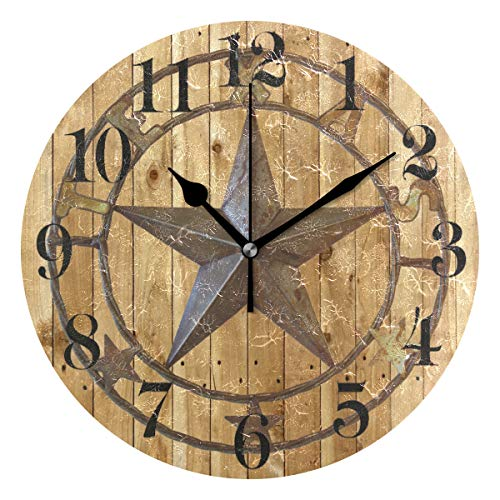 """Nugier Texas Star Round Wall Clock Silent Non Ticking Custom Acrylic Painted Easy to Read Non-Ticking Home Art Bedroom Living Dorm Room Decor 9.45""""x9.45"""""""