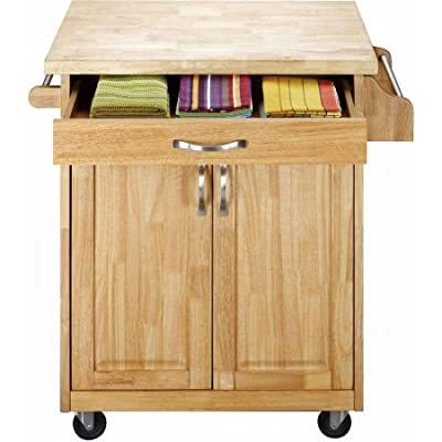 Kitchen Cart Rolling Island Storage Unit Cabinet Utility Portable Home Microwave Wheels Butcher Wood Top Drawer Shelf (Natural) by
