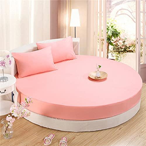 XGguo Protector de colchón - Protector de colchón antialérgico Sábana Redonda de Color Puro para Hotel Impermeable-Jade_2.2m