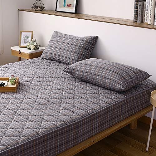Madrasskydd, tvättad bomull halkfri andningsbar anti-borrning fleecekant vågig sömprocess tvättbar Lämplig för 5-26 cm höga madrasser, A, 135 cm x 200 cm