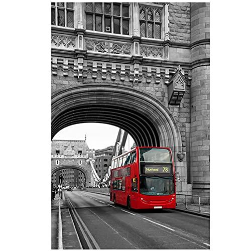 Europa Estilo rojo Paisaje en blanco y negro Imagen Arte de la pared Pintura en lienzo Carteles e impresiones de paisajes vintage para el diseño del hogar-50x70cmx1pcs -Sin marco
