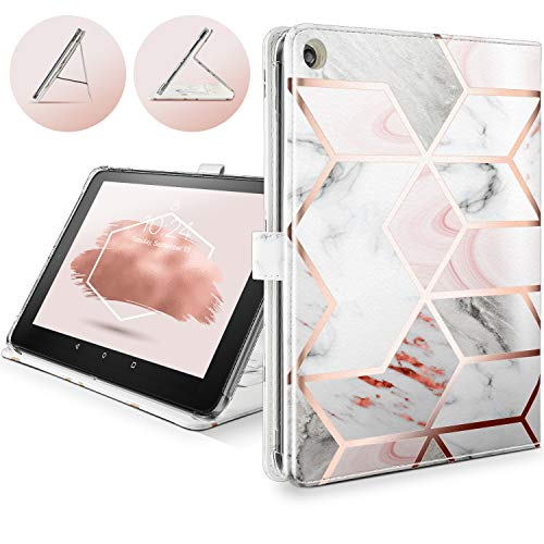 Shields Up for Amazon Fire HD 8 Tablet Case Compatible with 8th/7th Generation 2018/2017 NOT Fit HD8 2020  Drop Protection Leather Cover with Card Slots for Kindle Fire HD 8 Marble