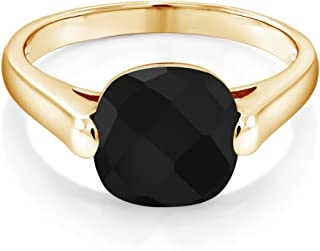 Gem Stone King 18K Yellow Gold Plated Silver Black Onyx Women's Ring (3.60 Ct Cushion Checkerboard, Available 5,6,7,8,9)