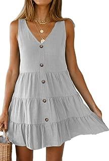 Women's Button Front Dress Summer Sleeveless V-Neck Pleated Swing Dresses
