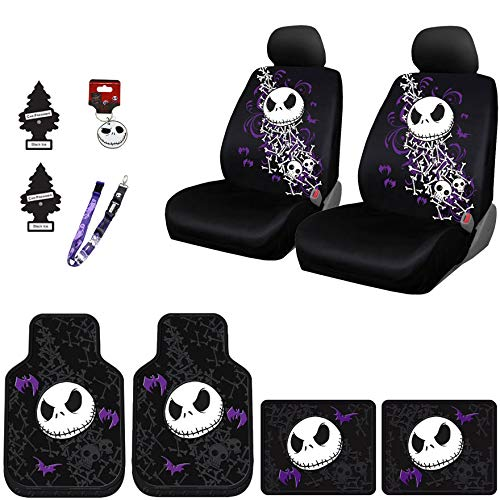 Yupbizauto New 12 Pieces Nightmare Before Christmas Jack Skellington Car Truck SUV Seat Covers Floor Mat Set with Little Tree Air Freshener