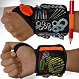 Magnetic Wristband with Flashlight and Tape Measure – Screw, Drill Bit, and Nail Holder with 20 Strong Magnet Pieces Increases Convenience for DIY, Carpenters, Mechanics, and More by MEBTOOLS