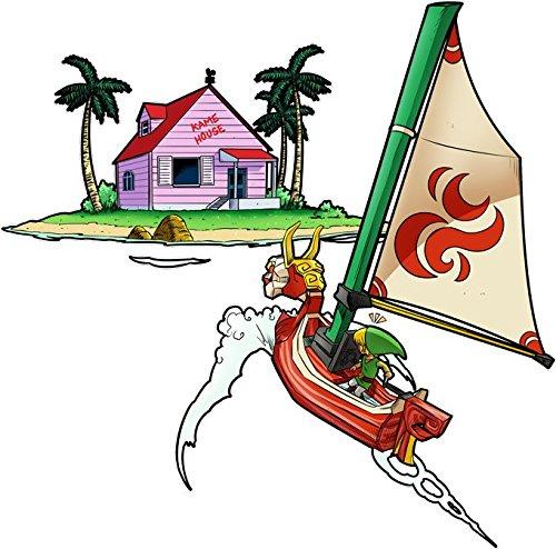 Okiwoki T-Shirt Noir Dragon Ball Z - Zelda parodique Link et la Kame House de Tortue Géniale : Une île Perdue dans l'Océan. (Parodie Dragon Ball Z - Zelda)