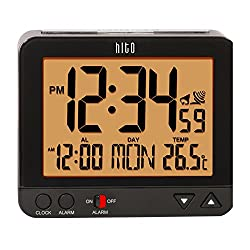 hito 3.8 Digital Battery Atomic Alarm Clock Bedside Travel Auto Time Set Auto Night Light Date Day Indoor Temperature 4 Timezones for Bedroom Office Desk