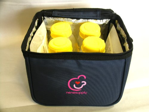 Bottle Cooler Bag and ice Packs for breastmilk Storage. Can fit into Medela Pump-in-Style Carry Bag, and can Hold Upto 5 Lansinoh breastmilk Storage Bags
