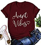 NANYUA Aunt Vibes T Shirt Women Funny Letter Print Auntie Life Tops Tees