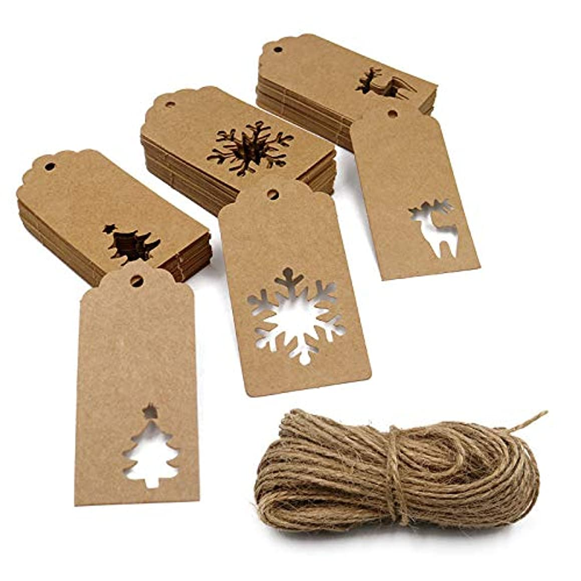 150PCS Christmas Tags, Kraft Paper Gift Tags with 100 Feet Jute Twine Hang Labels Christmas Tree Snowflake Reindeer Design for Arts and Crafts, Wedding Christmas Thanksgiving and Holiday (Brown)