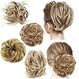 4 Pieces Messy Hair Bun Straight Hair Bun for Women Hair Extensions Short Ponytail Bun Elastic Easy Scrunchies Hairpiece Voluminous Curly Hair Accessories for Women Girls (12H24)